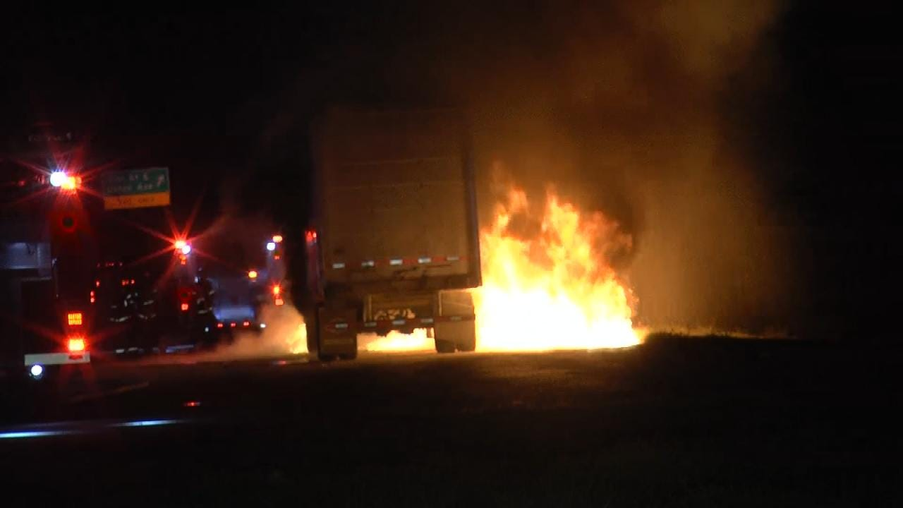Fire Destroys Semi On Tulsa Highway