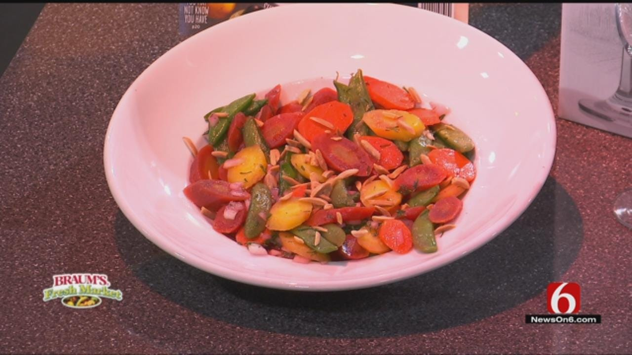 Rainbow Carrots And Sugar Snaps With Sherry-Dill Vinaigrette
