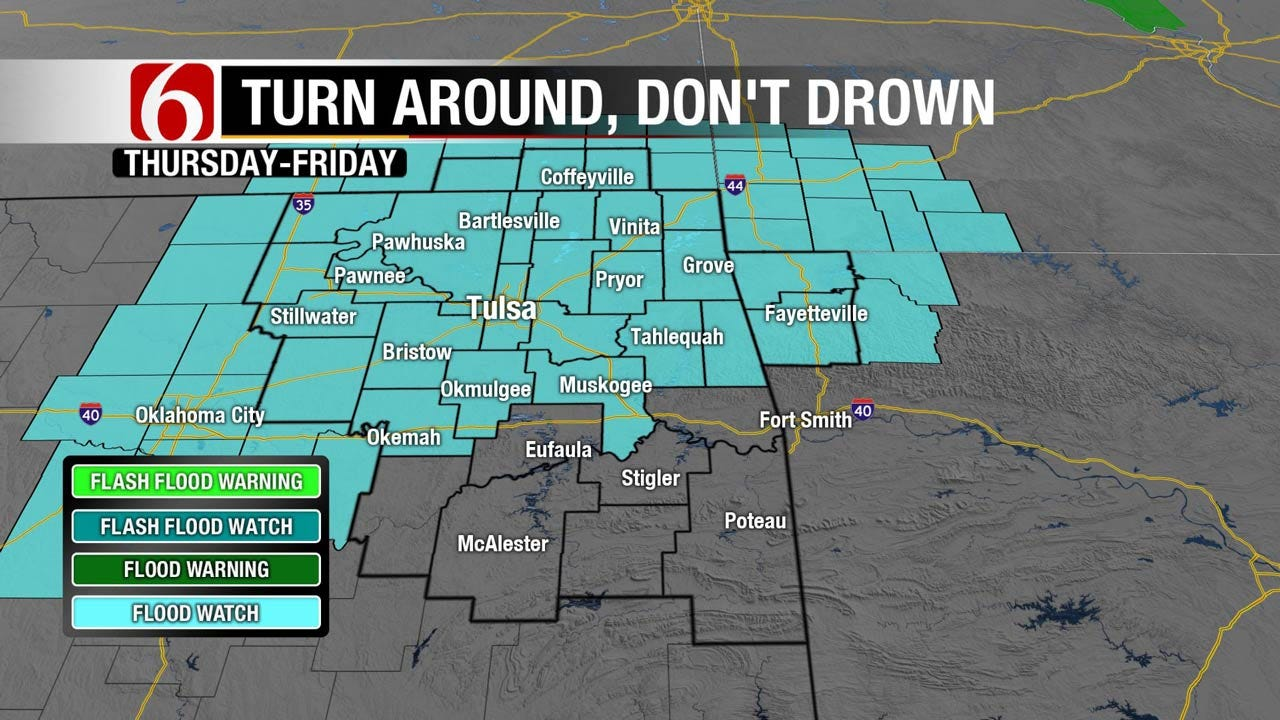 Flooding Possible As Rain Moves Into Northeast Oklahoma
