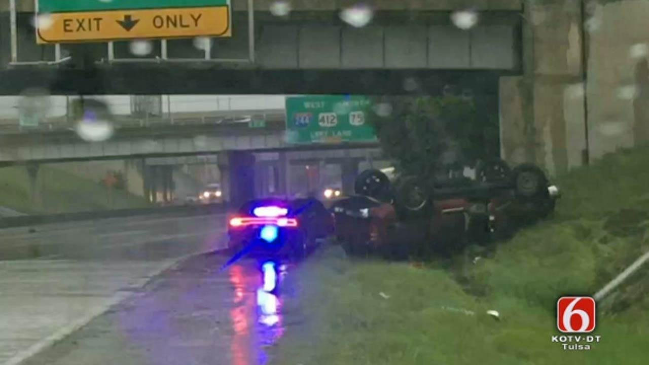 SUV Rolls Over On Downtown Tulsa Highway