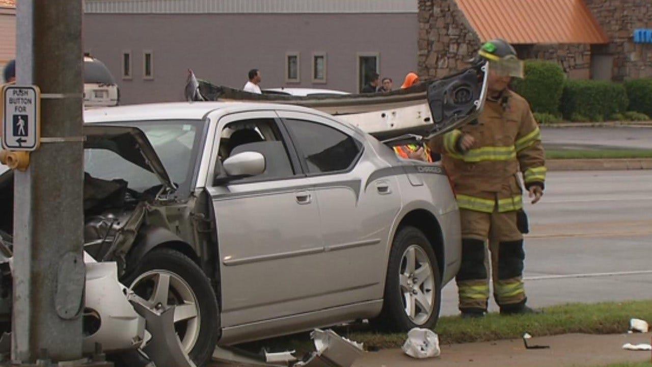 One Hospitalized After 2-Car Crash