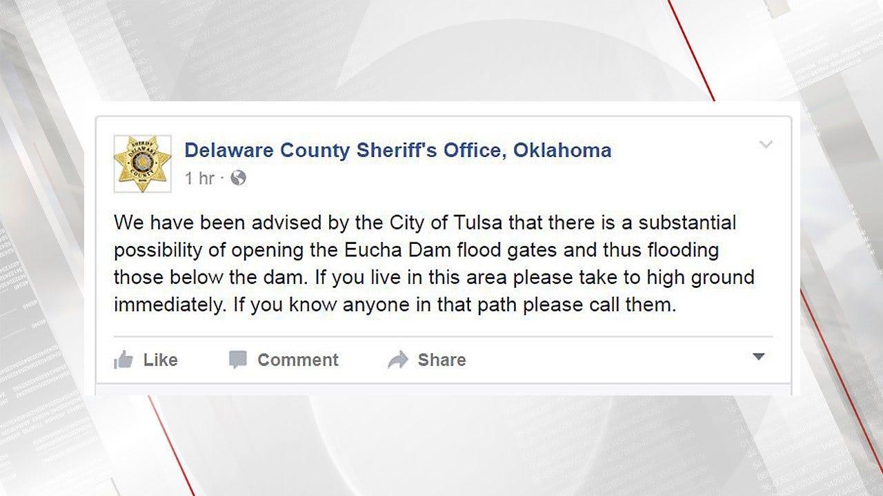 Eucha Dam Flood Gates Open, Residents Below Dam Urged To Evacuate