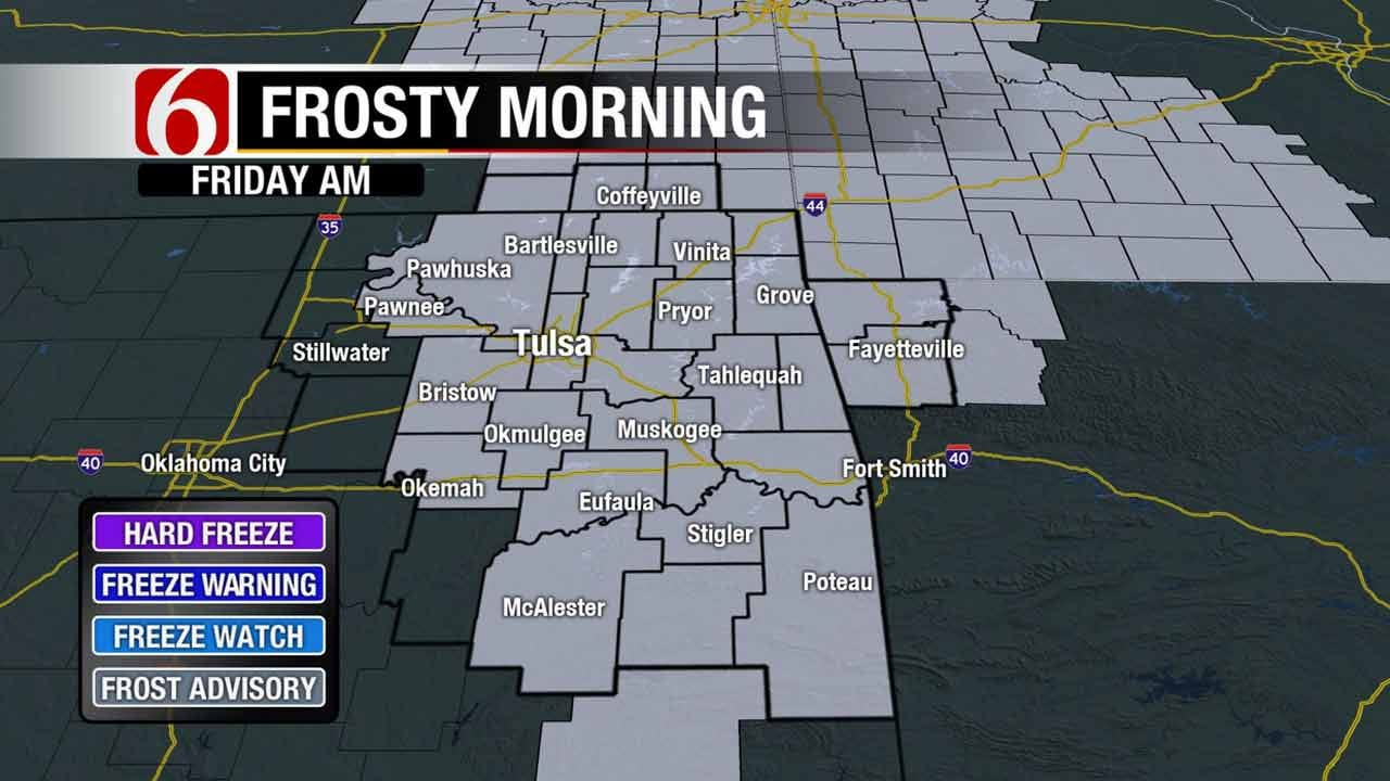 Frost Advisory Issued For Much Of Eastern Oklahoma