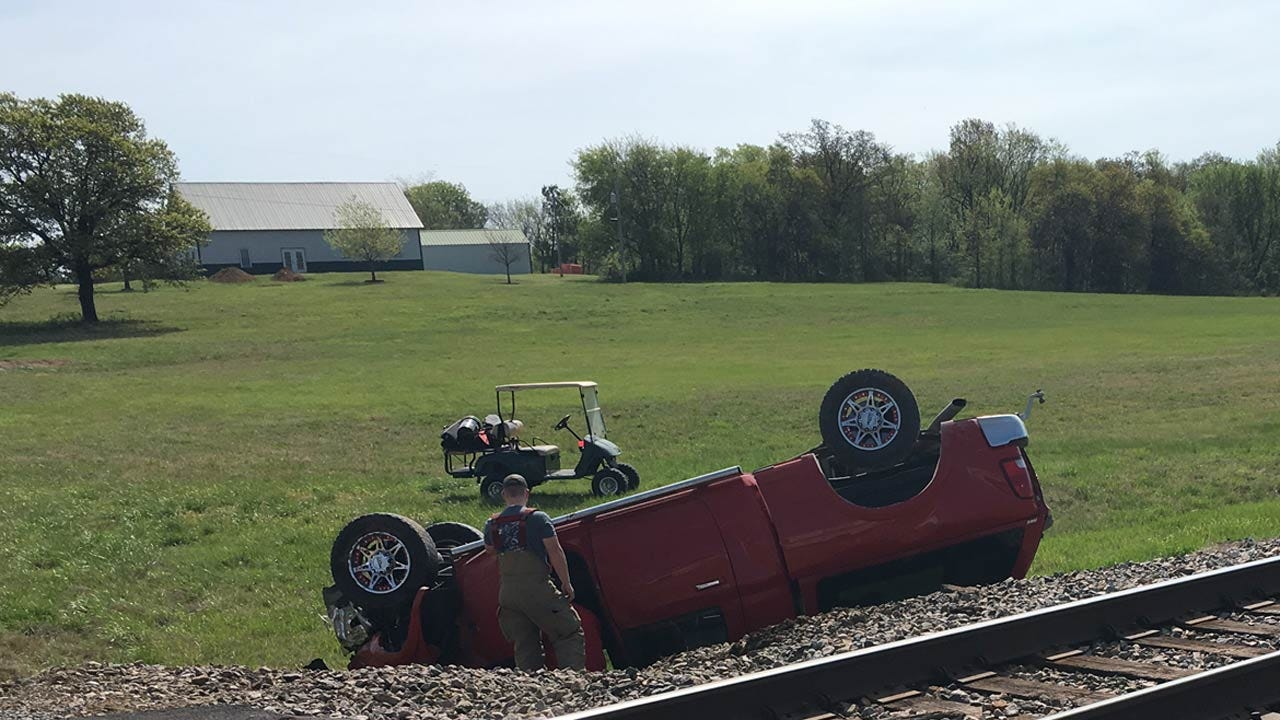 Train Locomotive Hits Pickup At Rogers County Crossing
