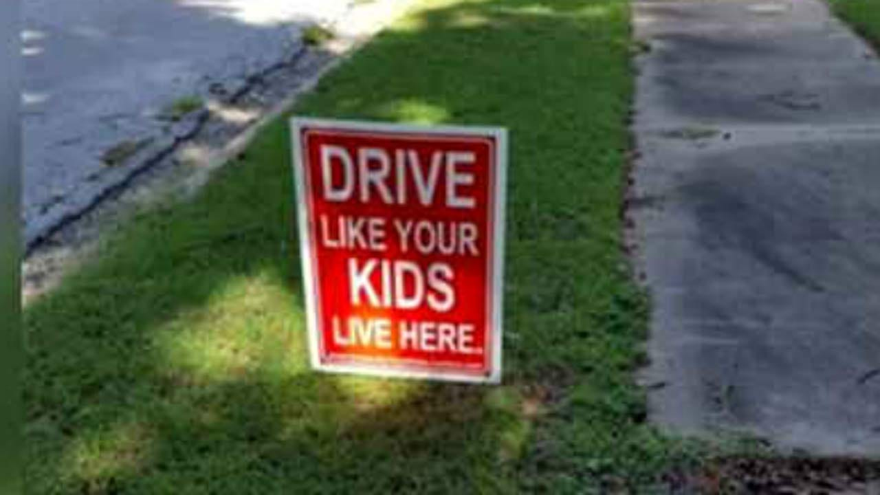 Signs Urge Tulsans To 'Drive Like Your Kids Live Here'