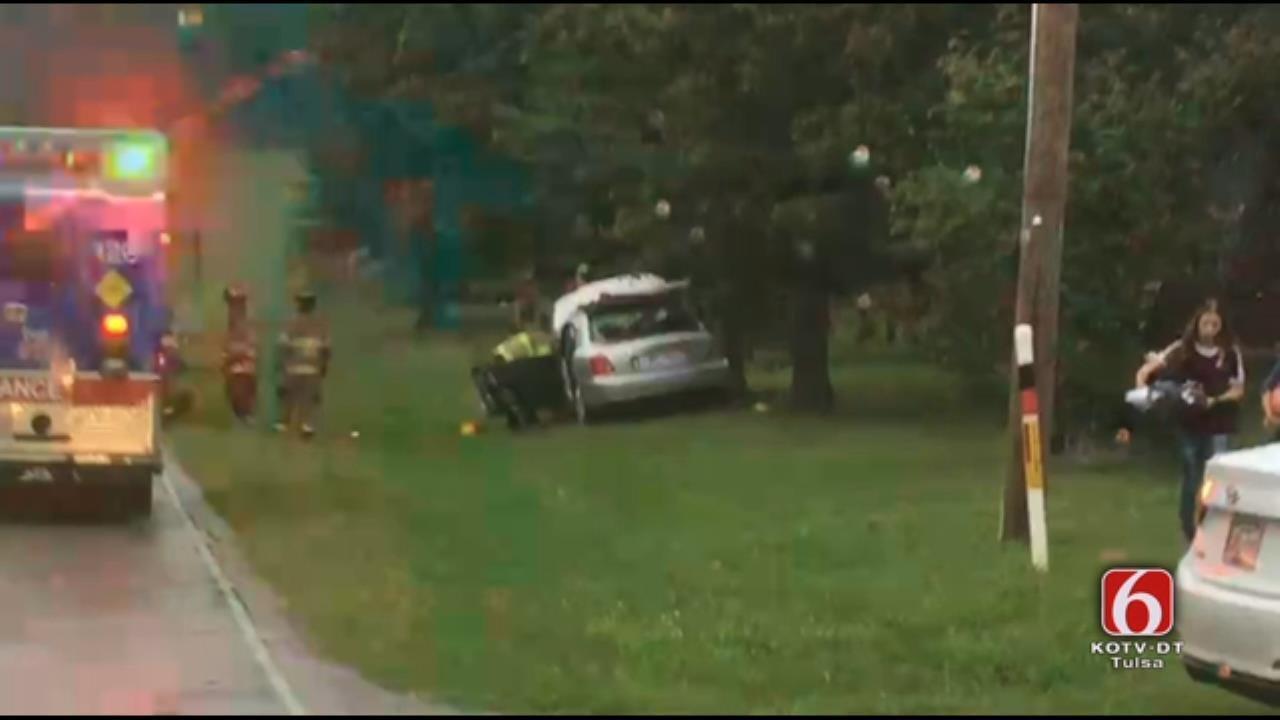 Wet Road Blamed For Sand Springs Car Crash