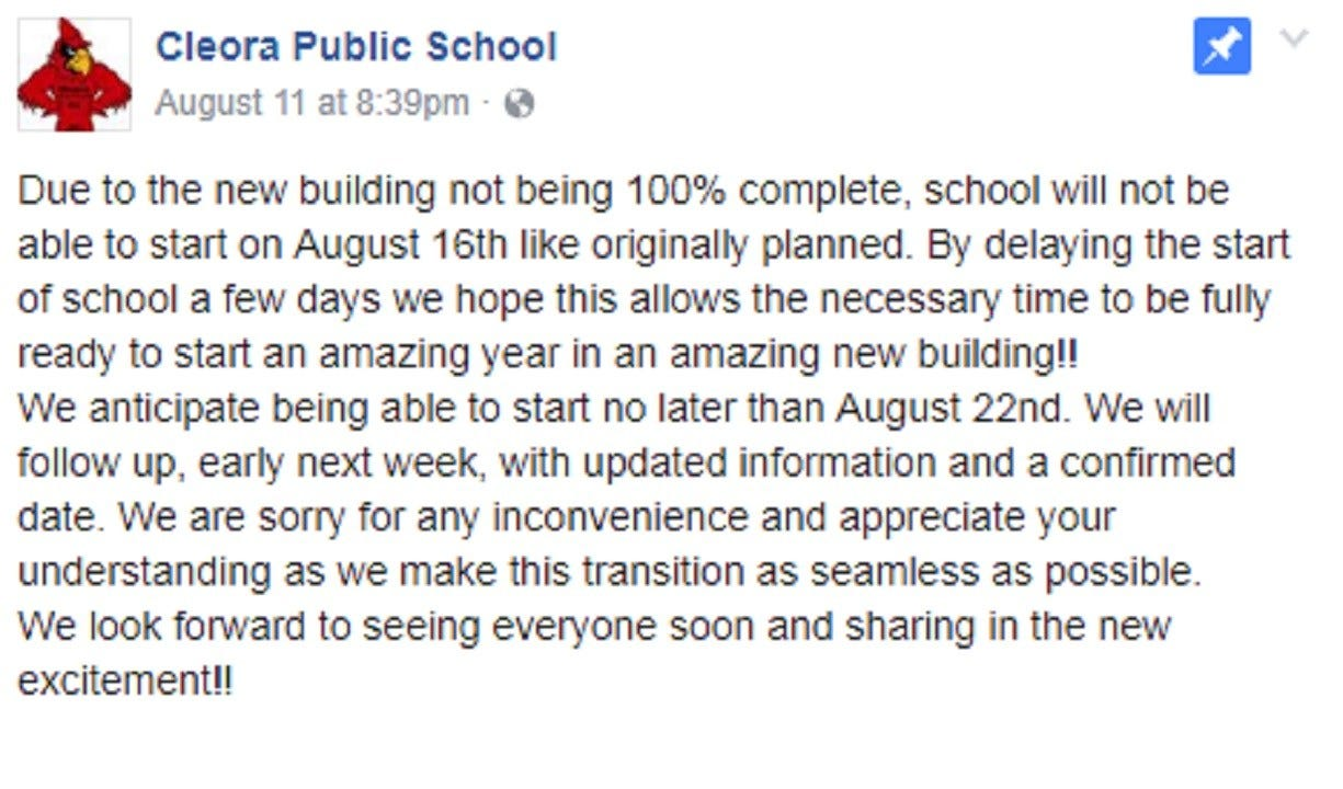 Cleora Public Schools Further Delay First Day Of School