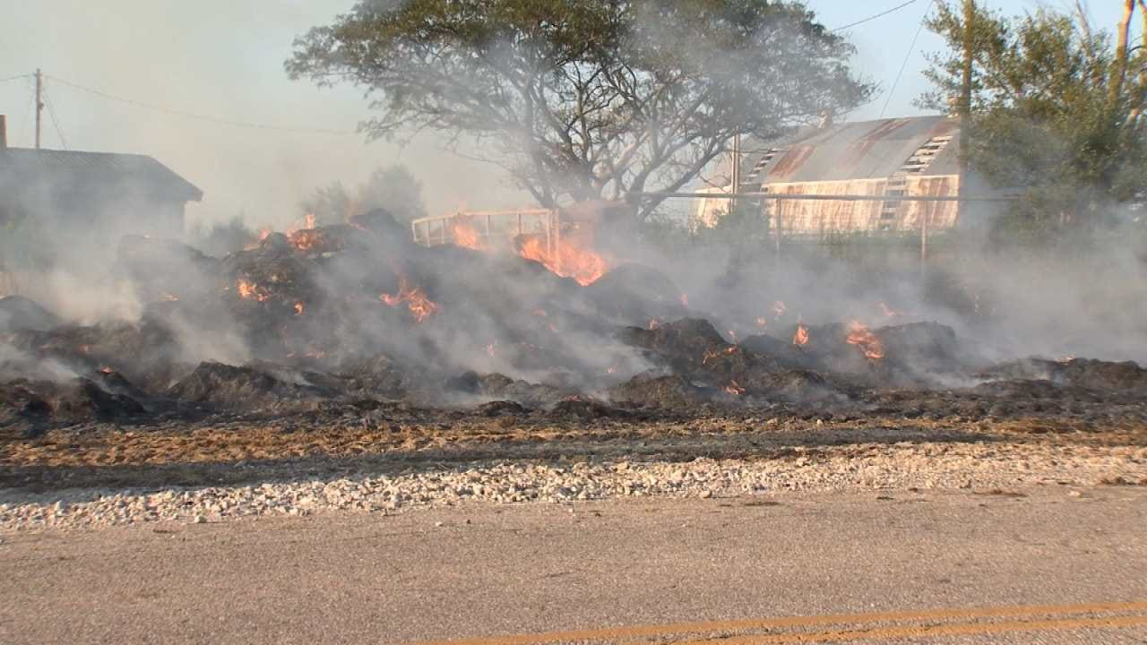 Fire Forces Driver To Dump Hay Bales Near Barnsdall