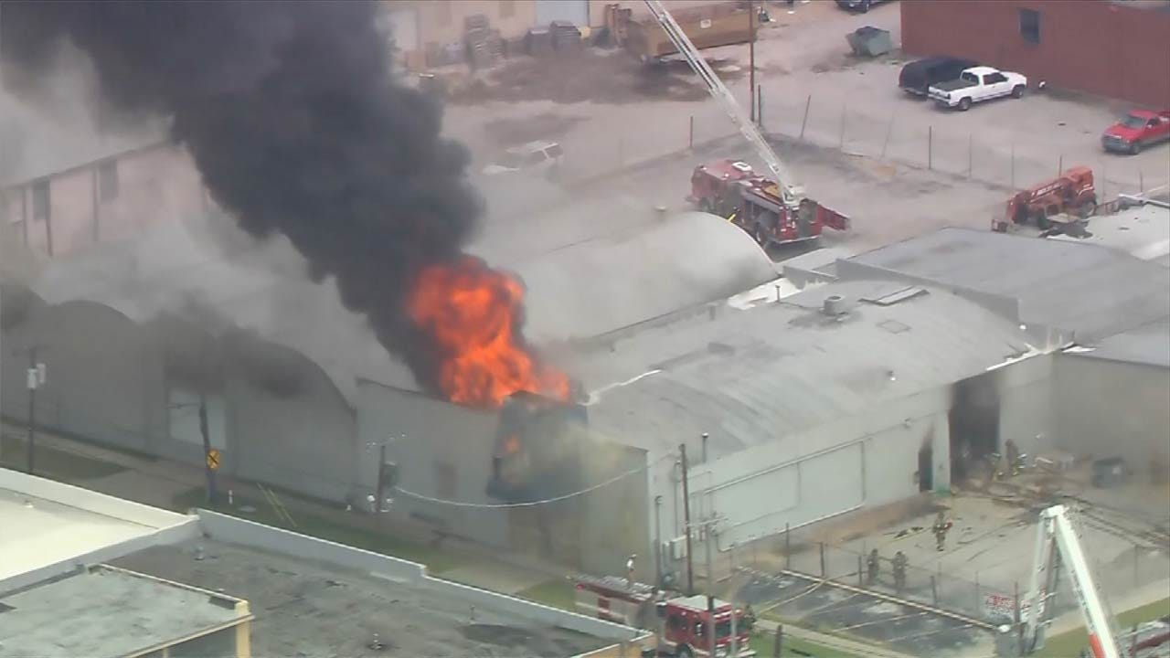 Tulsa Firefighters Battling Business Fire In Pearl District