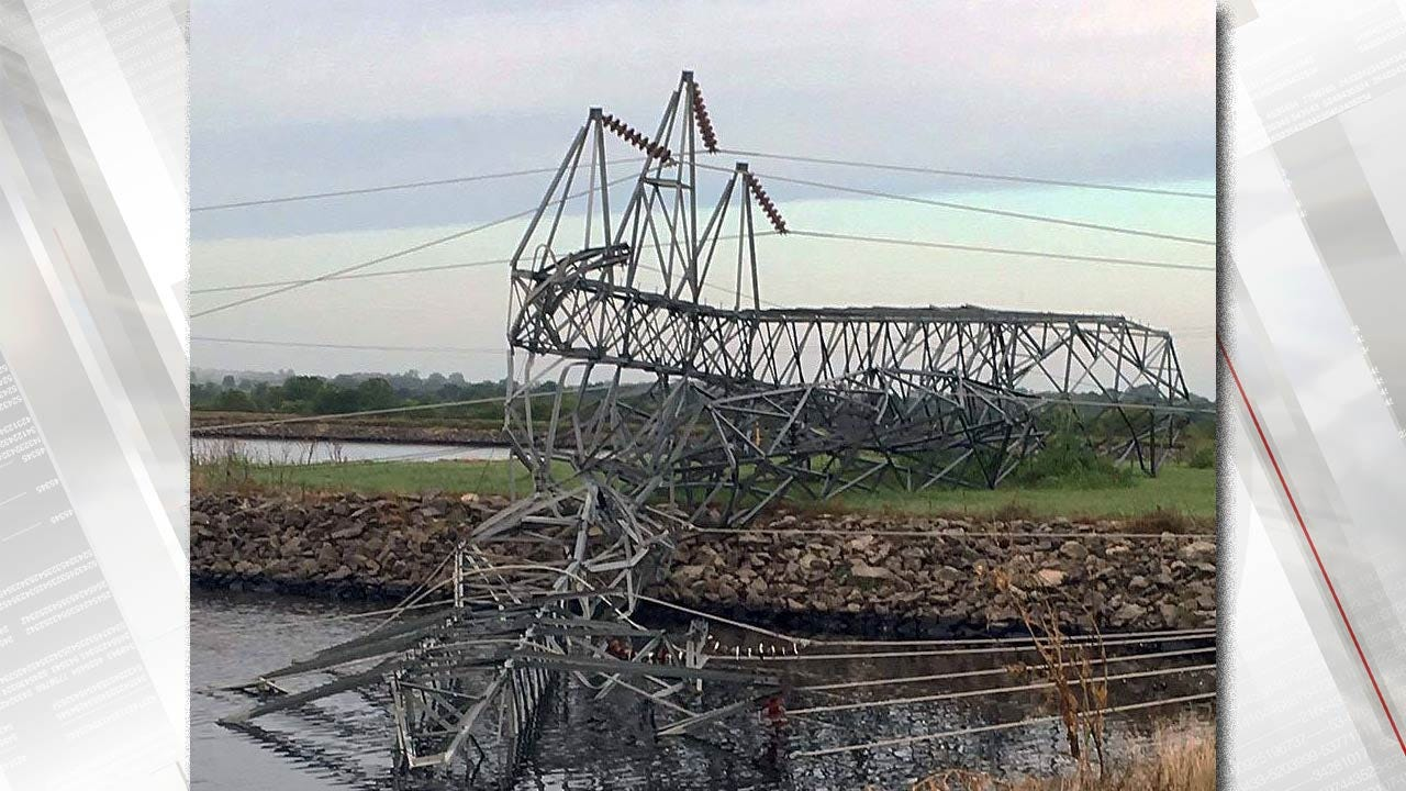 Power Transmission Tower Crumbles At PSO Oologah Generating Station