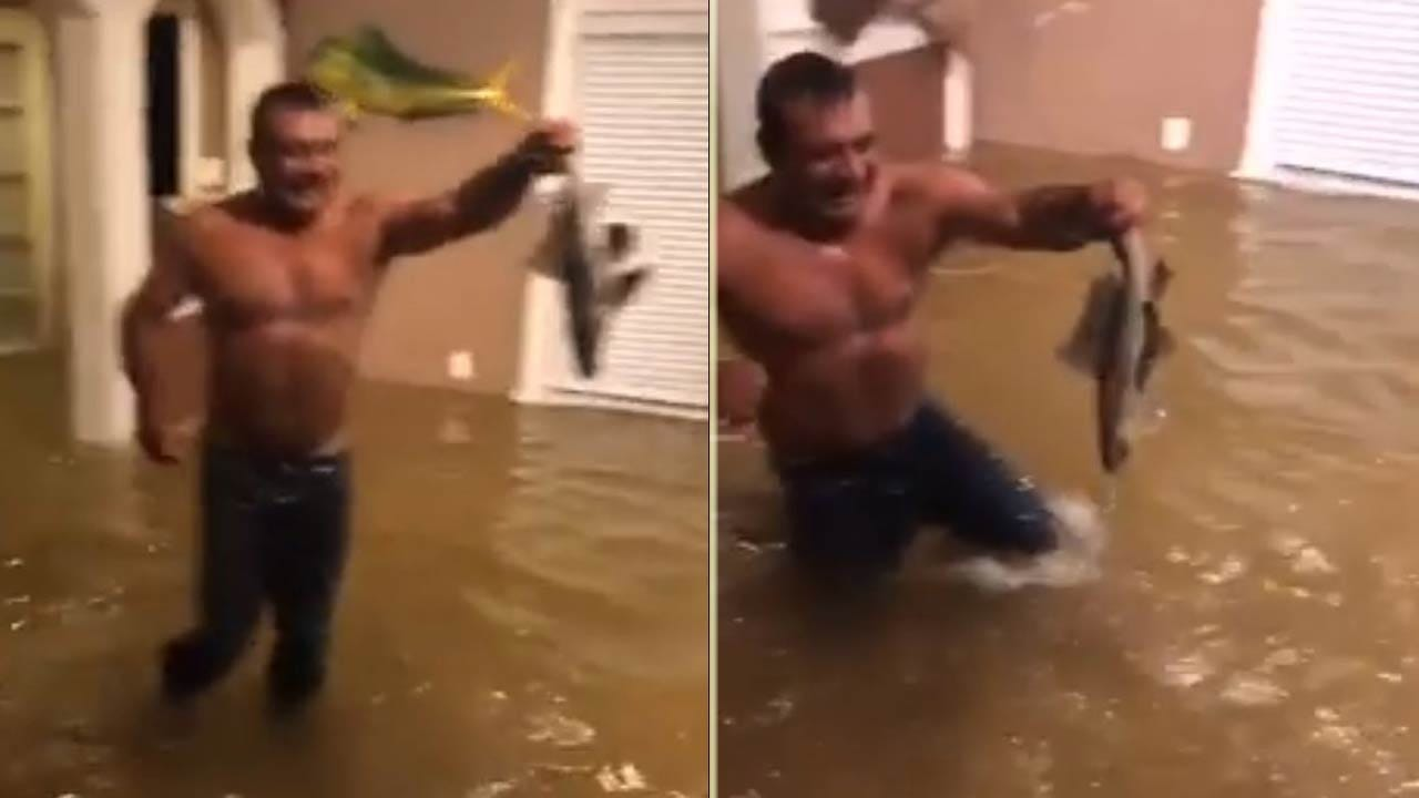 Man Goes Fishing In Home Flooded By Harvey