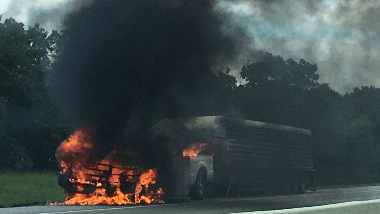 Truck Engulfed In Flames On Turner Turnpike Near Stroud