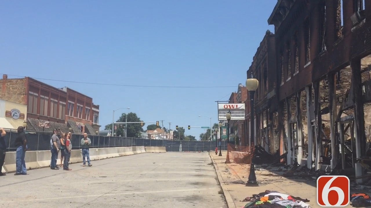 Inspectors Checking Out Damaged Downtown Wagoner Buildings