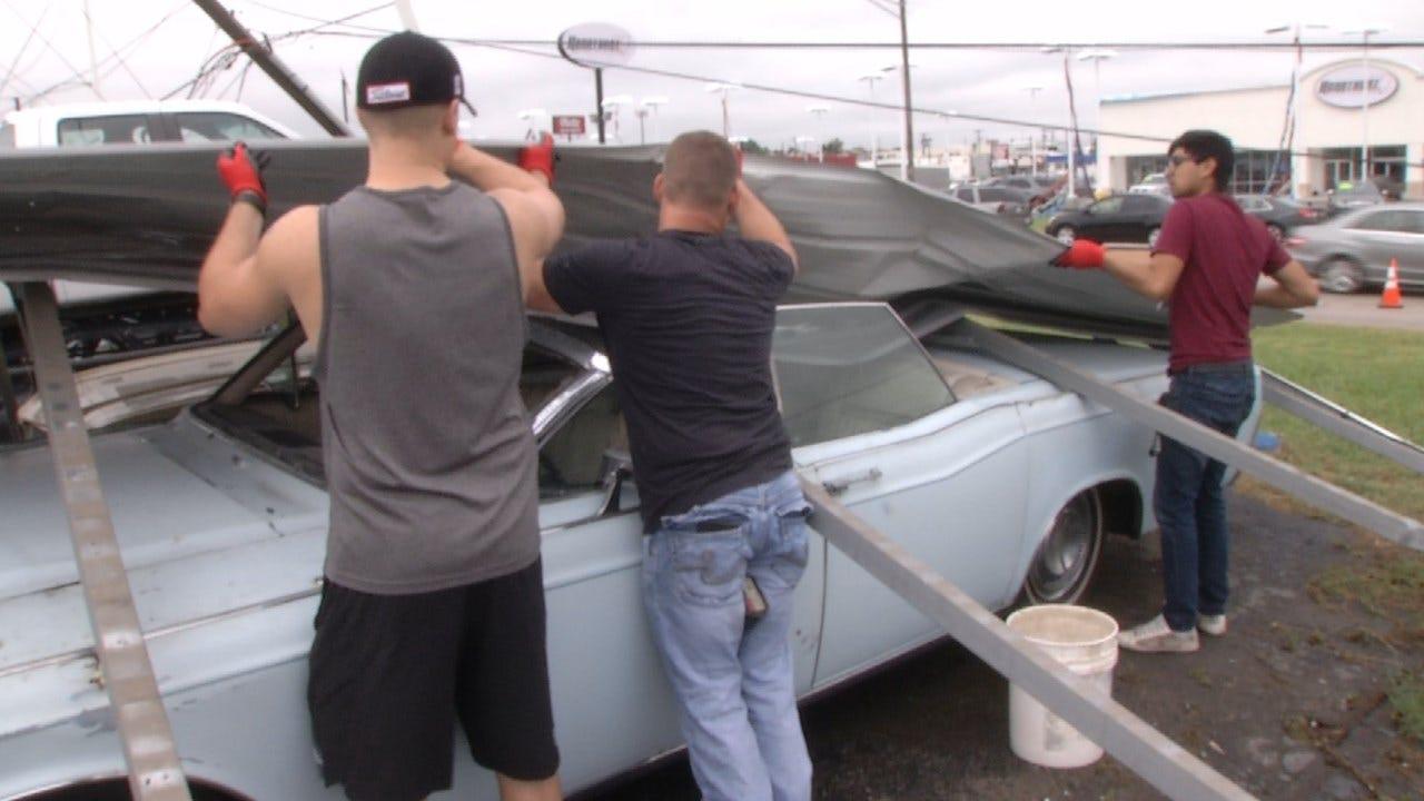 Tulsa Car Dealerships Stuck With Damage After Storms Rip Through City