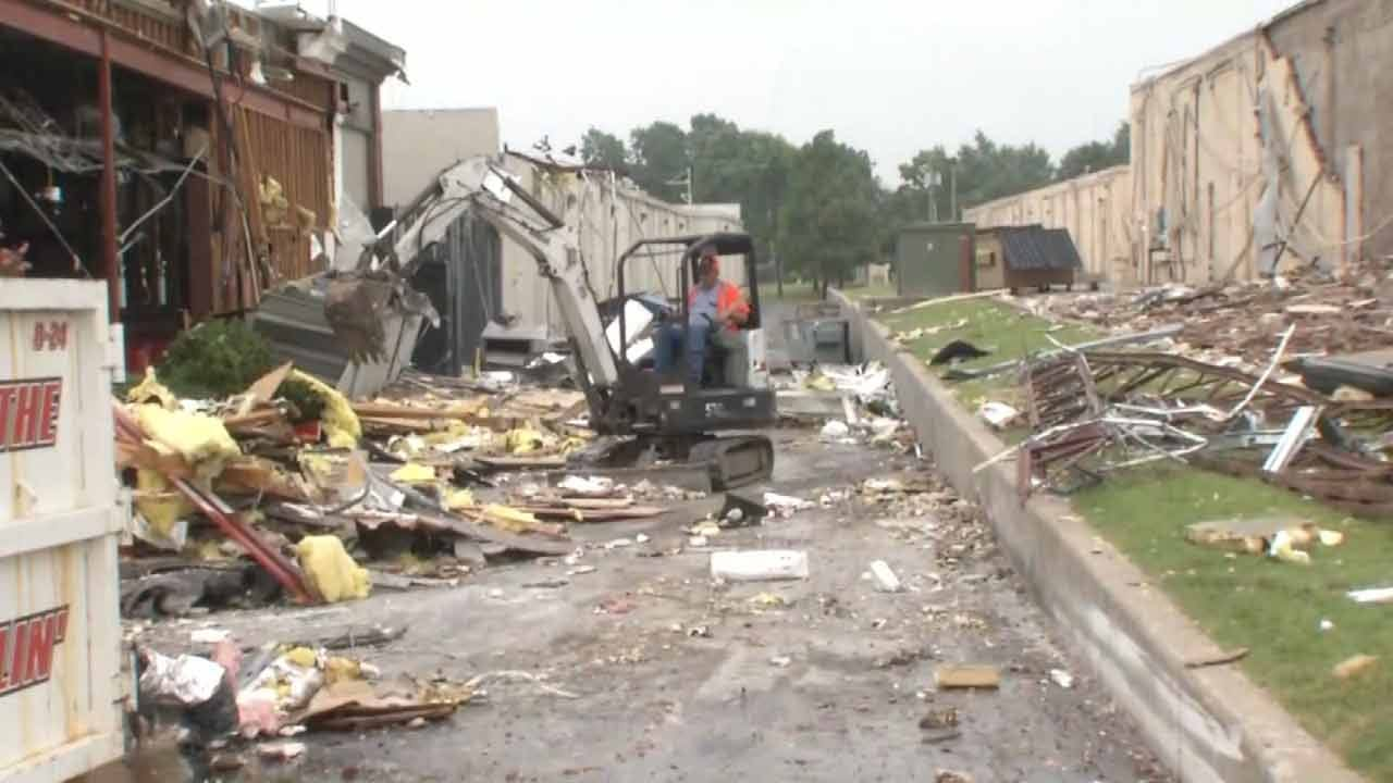 Restoration Crews Cleaning Debris Outside Tulsa Businesses Hit By Tornadoes