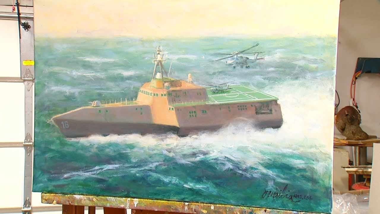 Artist's Painting Of USS Tulsa To Sail With Ship