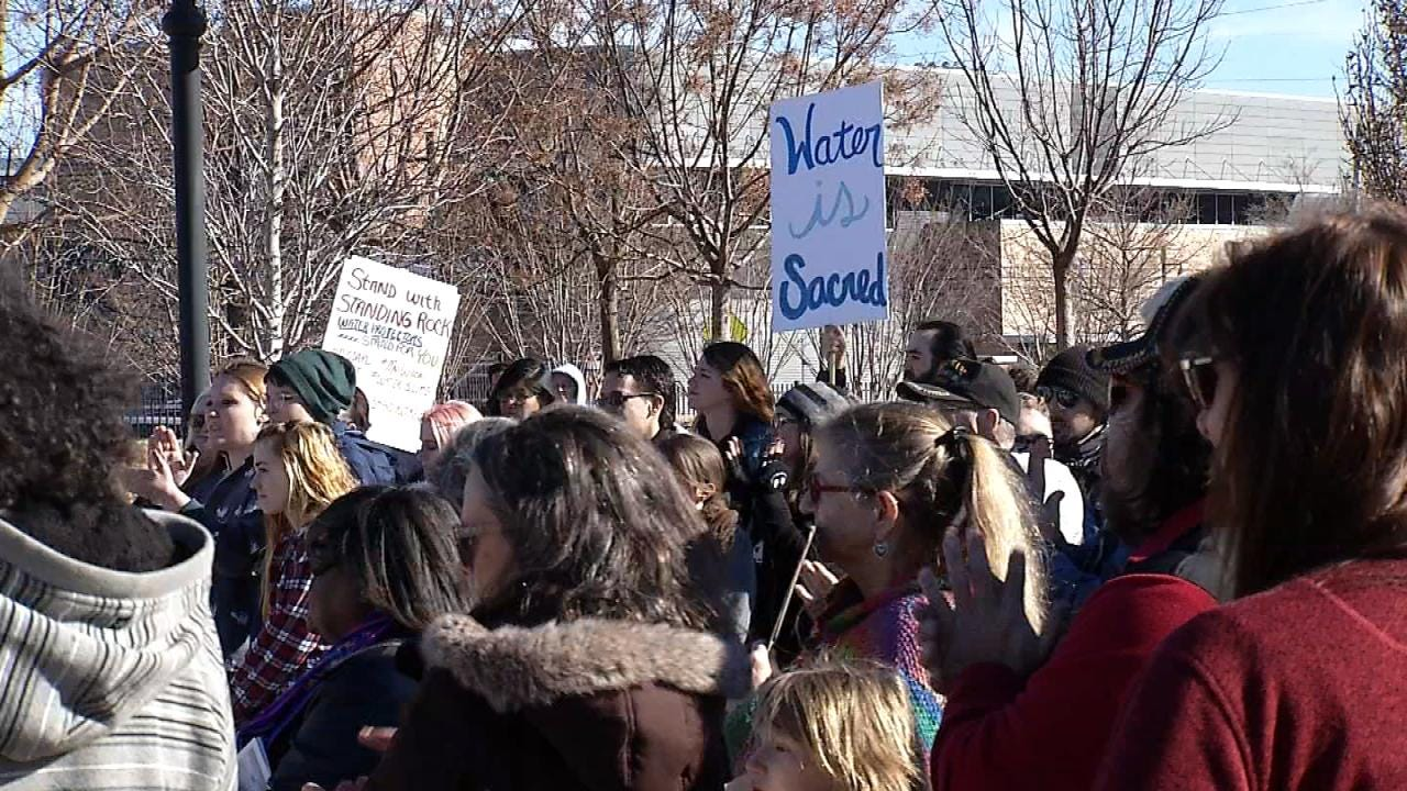 DAPL Protesters Hold Rally In Downtown Tulsa