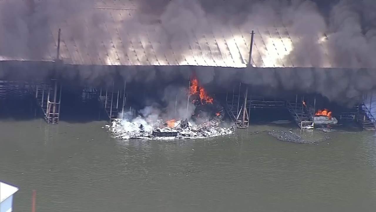 No Injuries In Massive Lake Texoma Marina Fire