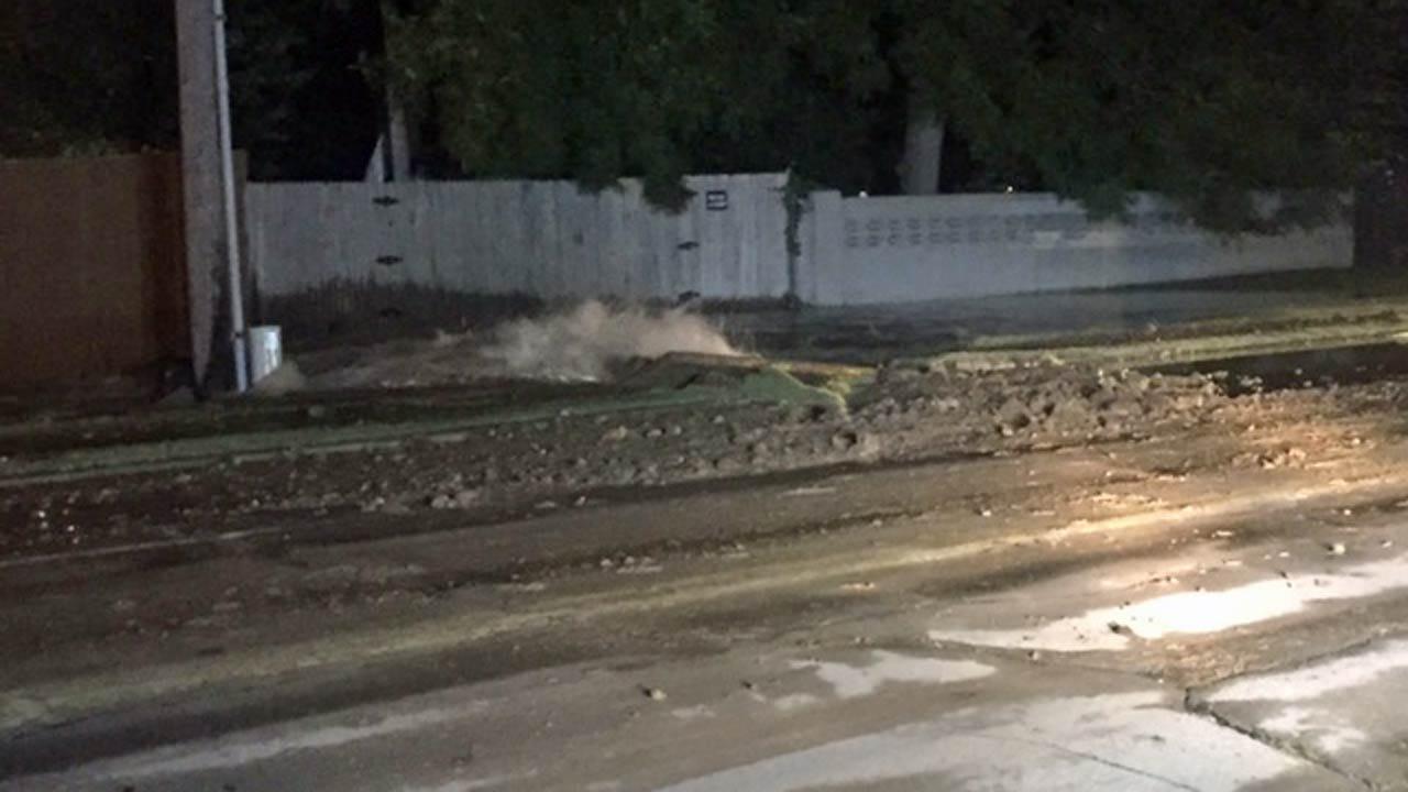 City Of Tulsa 12-Inch Water Line Breaks Overnight