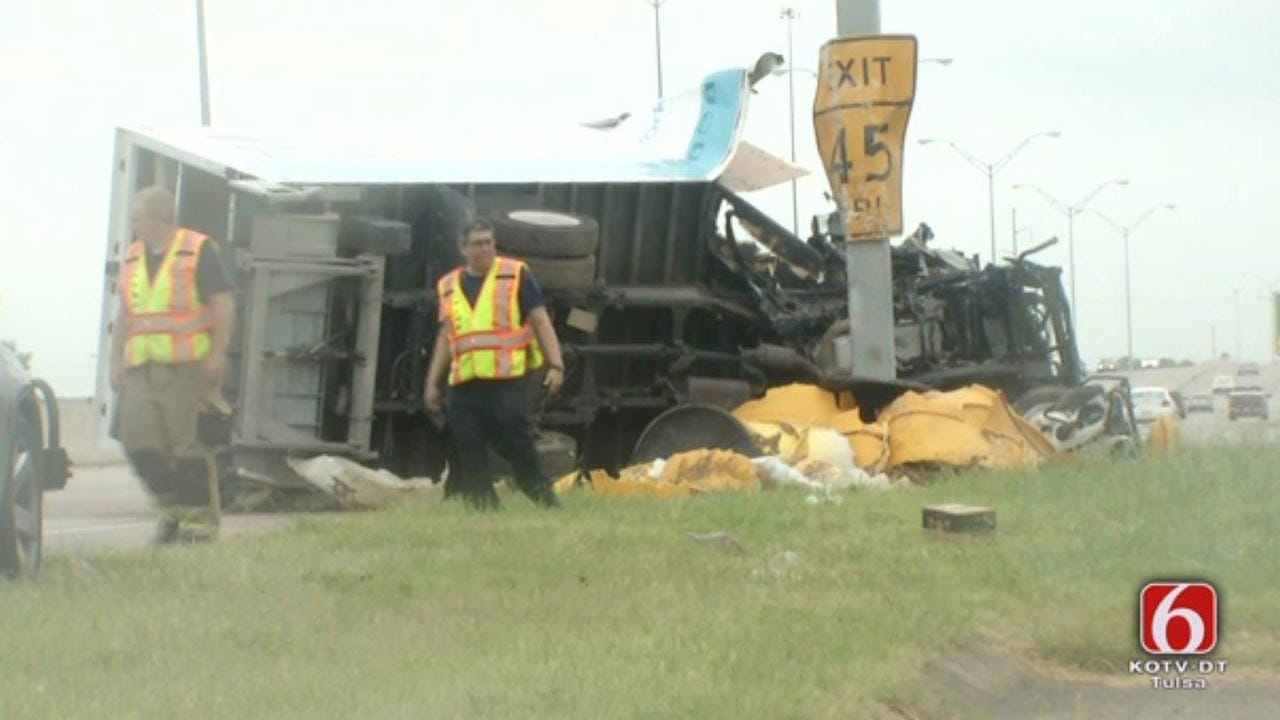 Sleepy Truck Driver Crashes In Tulsa, OHP Says