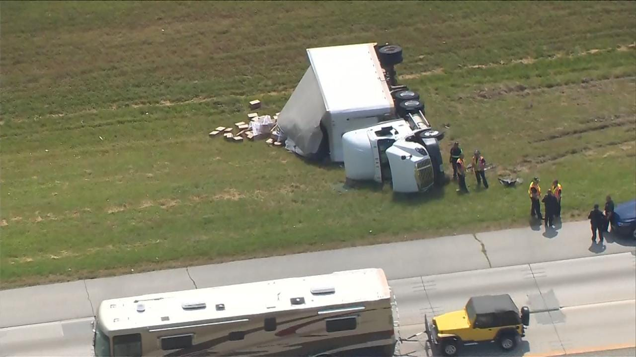 Semi On Its Side Slows Traffic On Tulsa County Highway