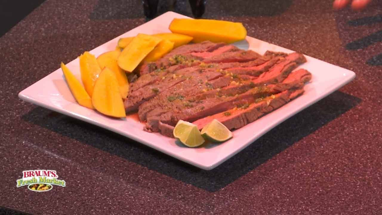 Cuban Flank Steak With Lime And Fresh Mango