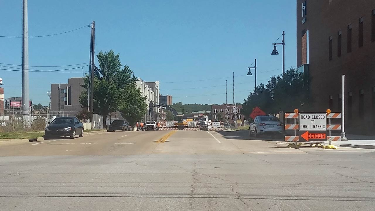Railroad Crossing Repairs Close Tulsa Street