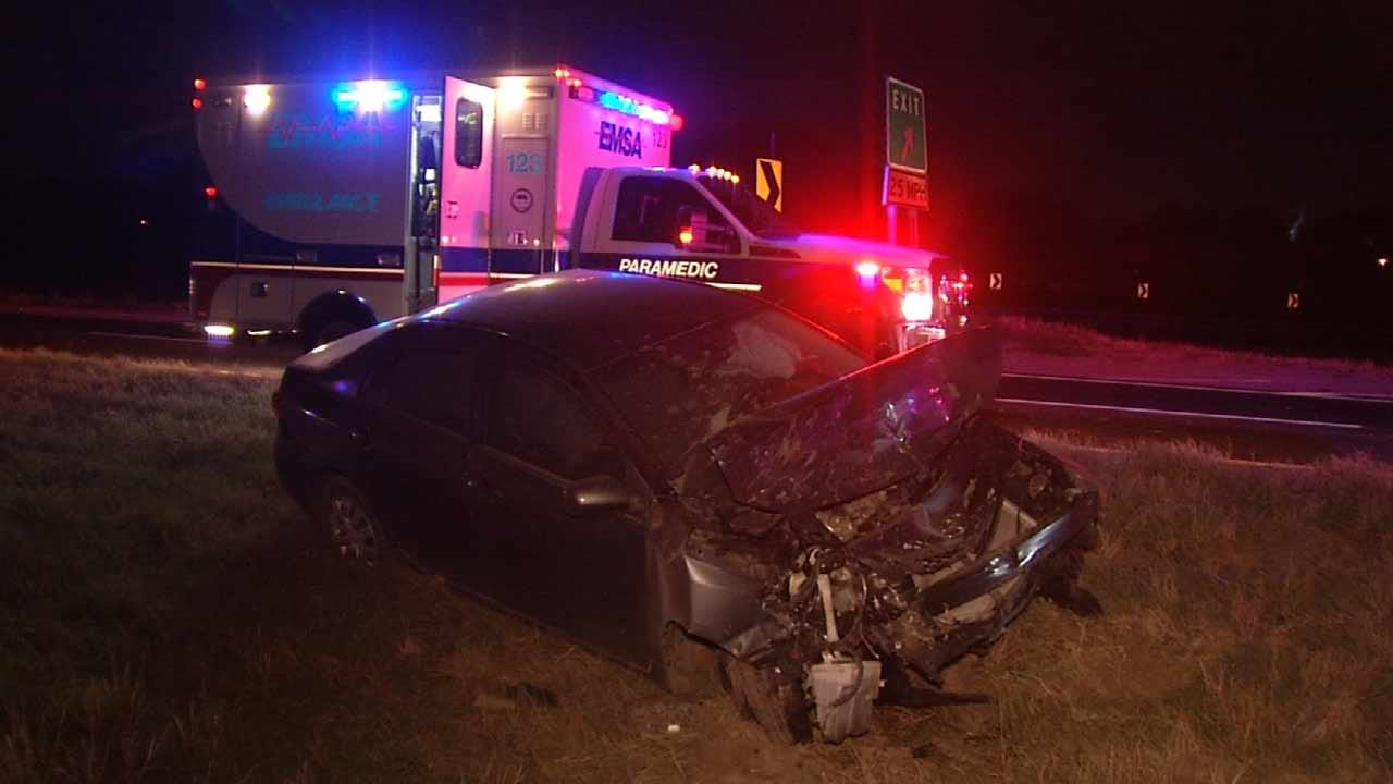 Driver Hurt When Car Rear Ends Pickup On Tulsa Highway