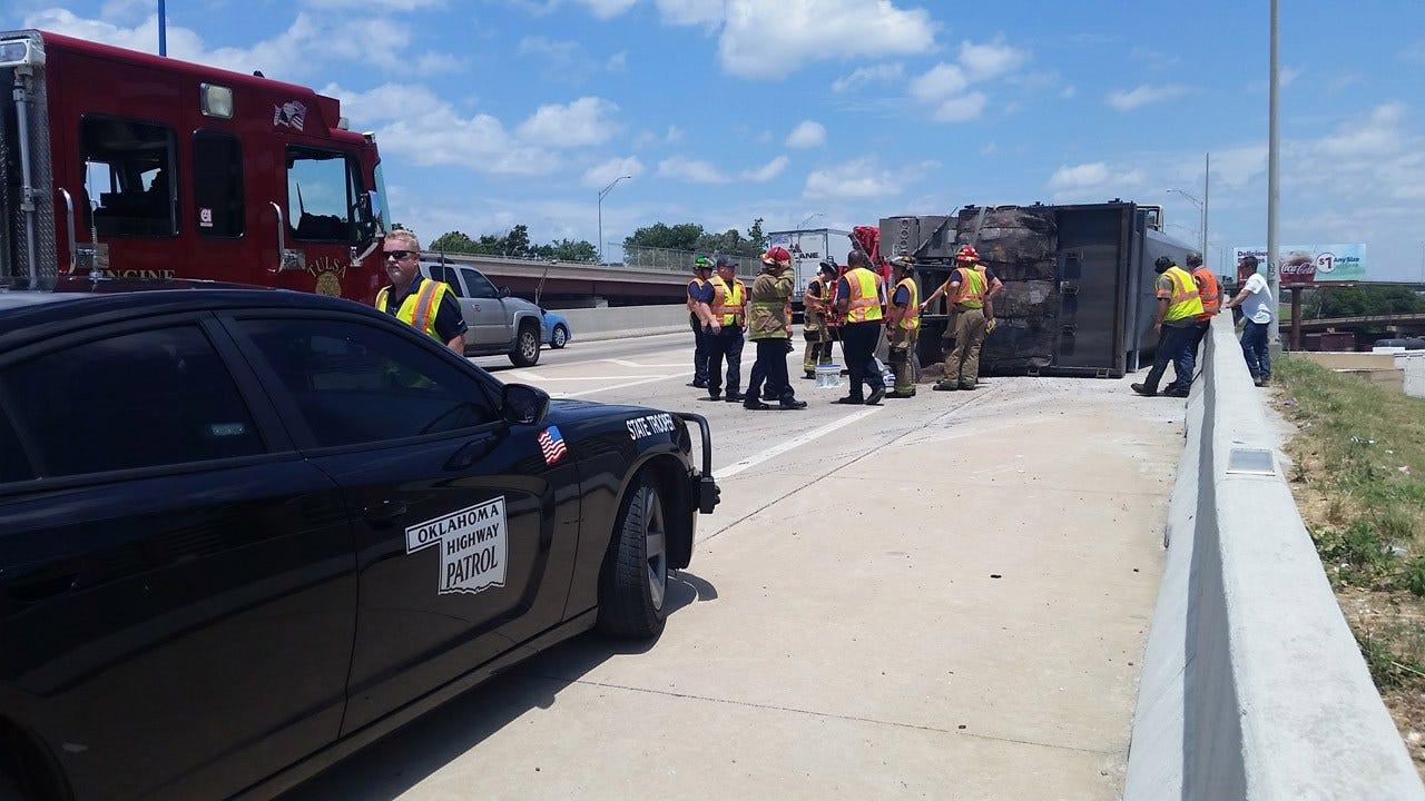 Overturned Garbage Truck Causes Slowdown On Tulsa's IDL