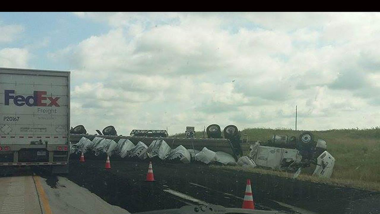 Truck Wreck Backs Up Traffic Near Wagoner