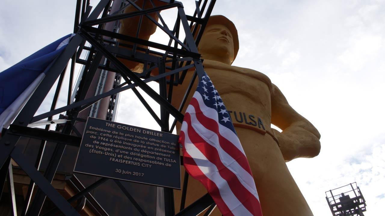 Replica Of Tulsa's Golden Driller Dedicated In France