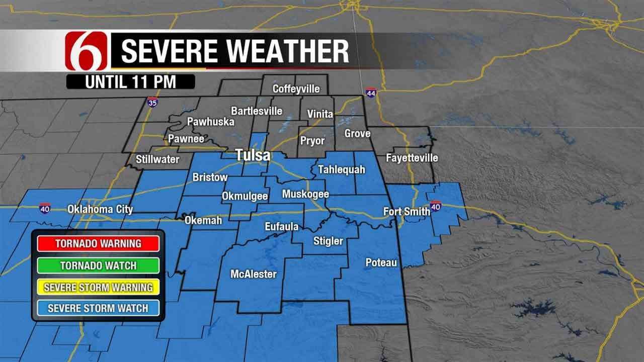 Severe Thunderstorm Watch Issued For Tulsa, Areas South