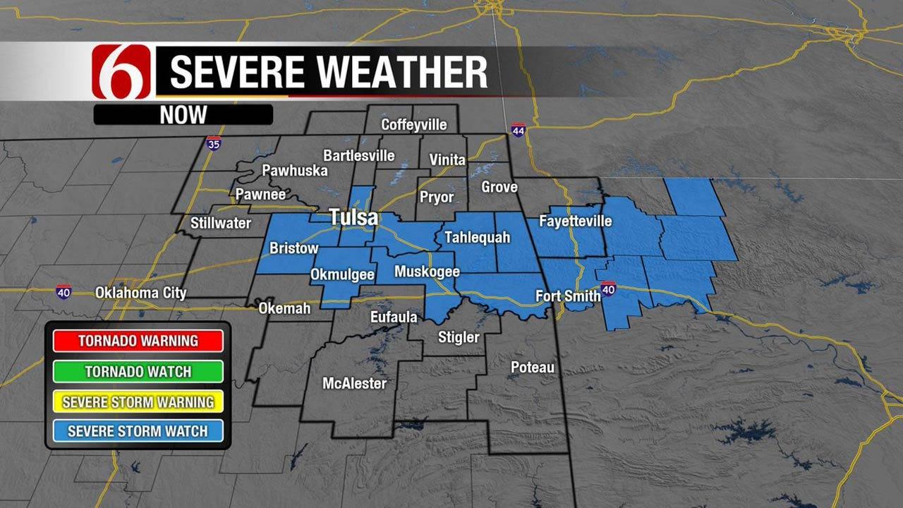 Showers, Storms Push Across Eastern Oklahoma