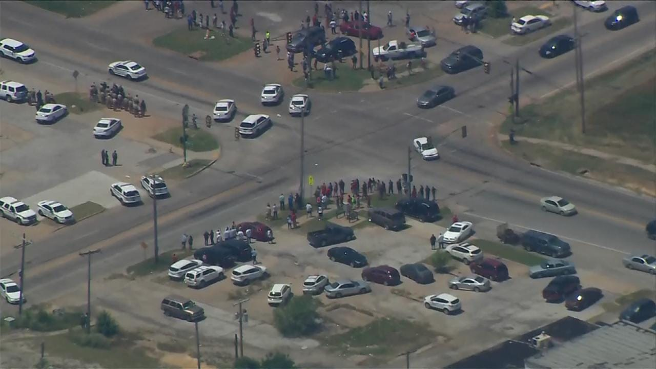 Crowd Gathers At Scene Of Fatal Tulsa Law Enforcement Shooting