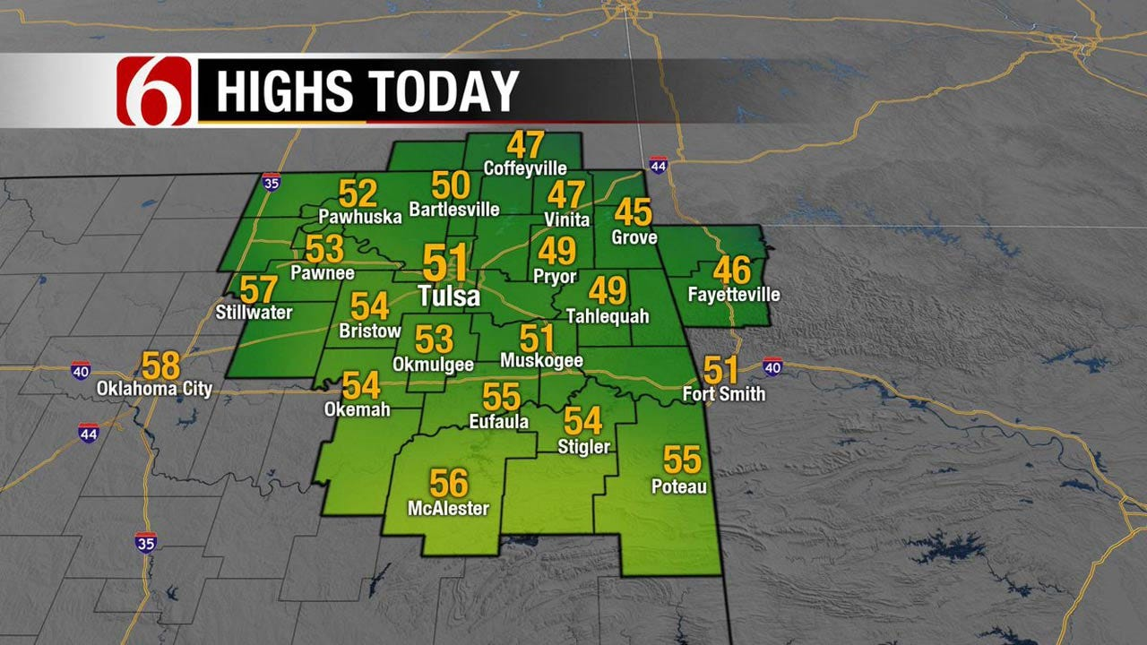 Another Cool Day Across Eastern Oklahoma