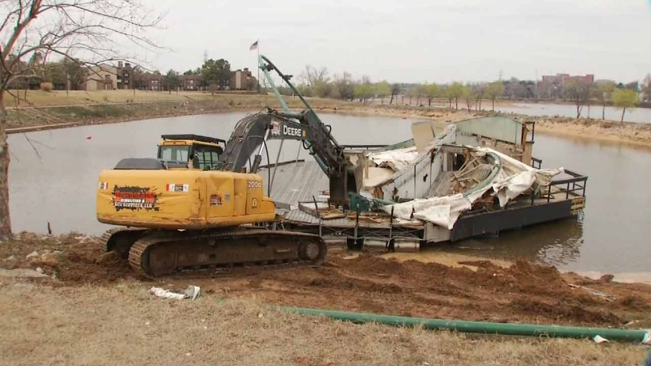 River Parks Demolishes Floating Stage Previously Auctioned Off