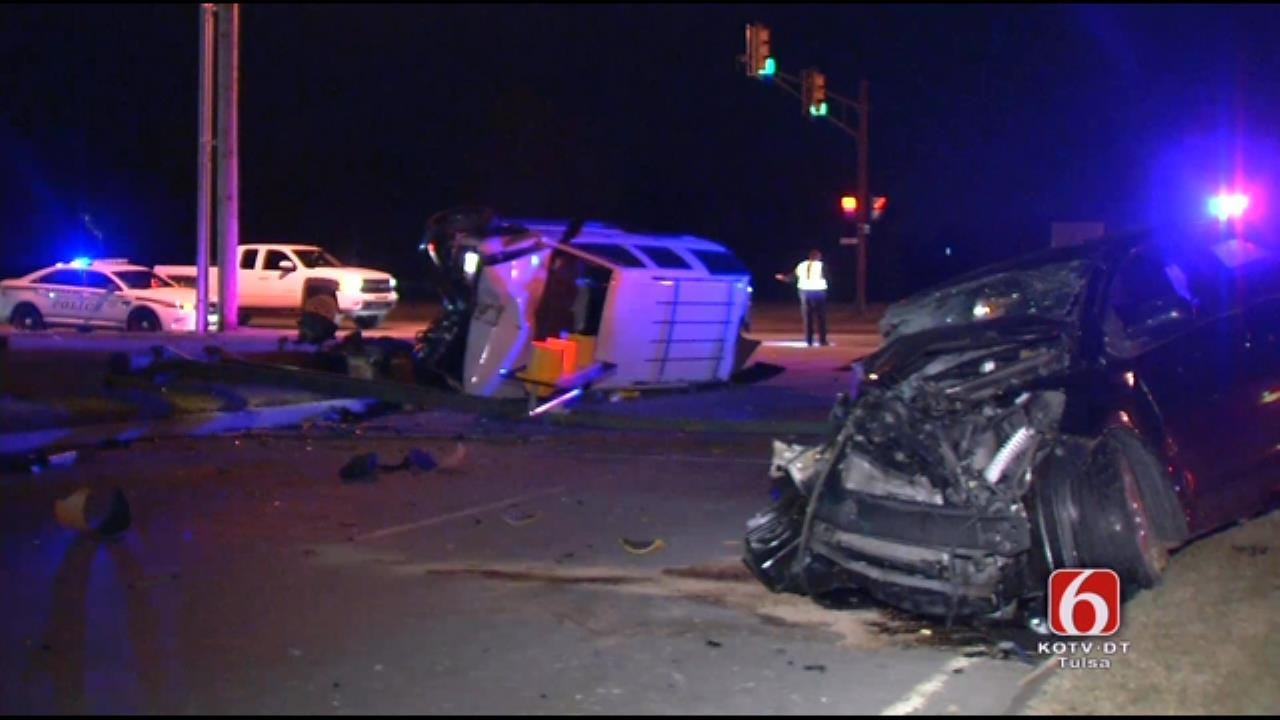 Two Injured In Two-Vehicle Rollover Tulsa Crash