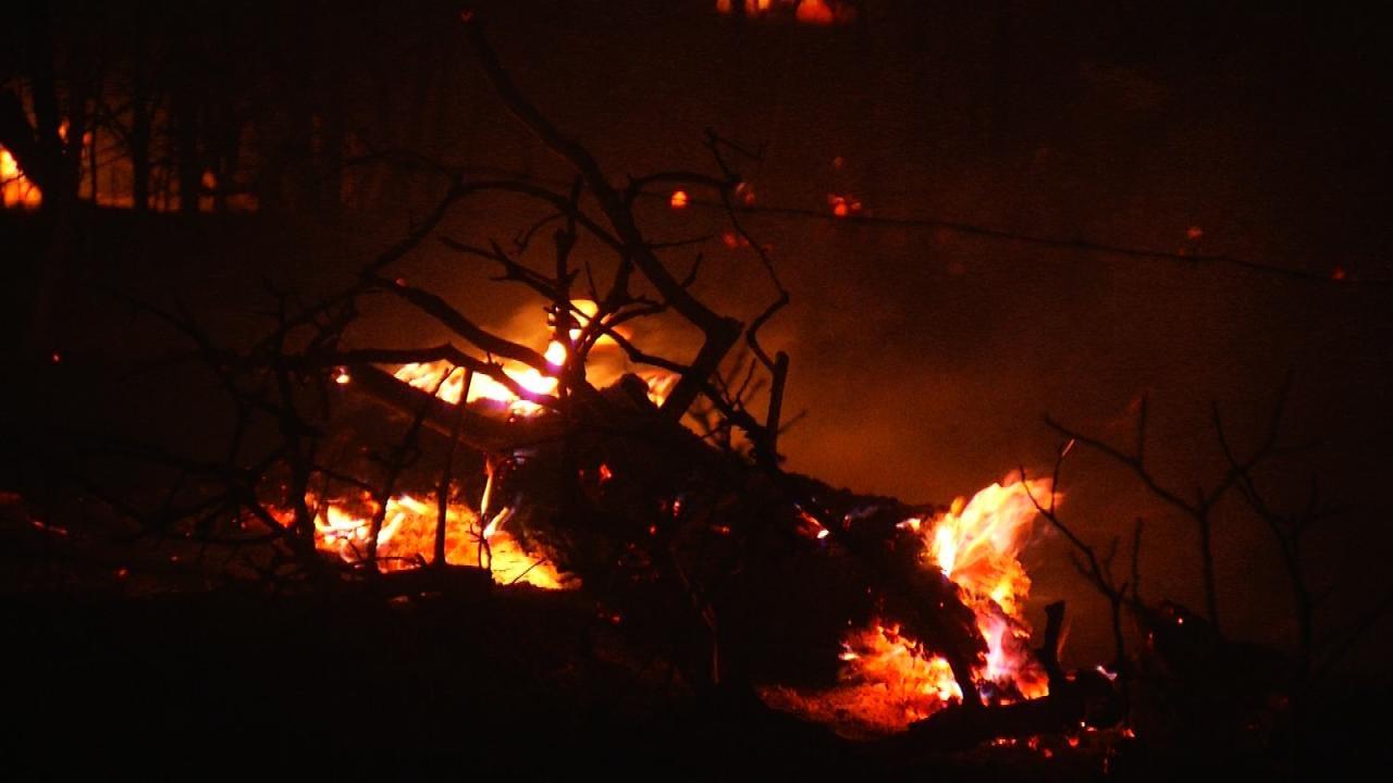 Firefighters Monitor Wildfire Near Mannford