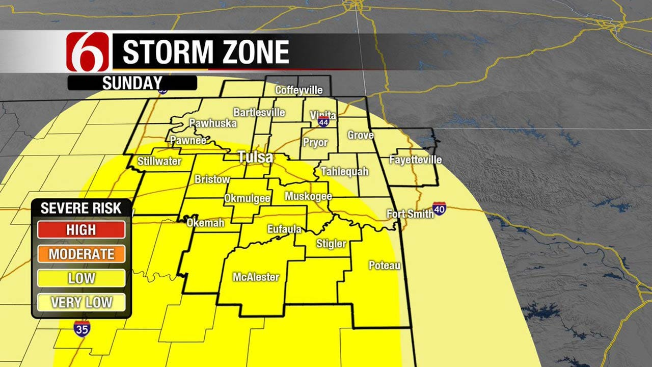 Storms East Of Tulsa, Fire Danger To The West