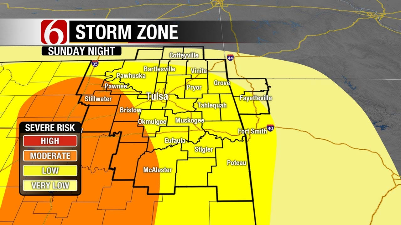 Severe Storms Possible Across Central, Southern Oklahoma