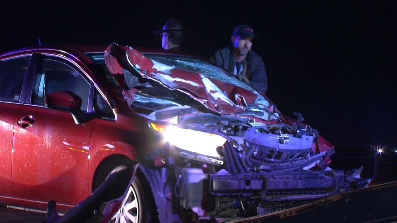 Car Totaled After Hitting Cow On Tulsa Interstate 44