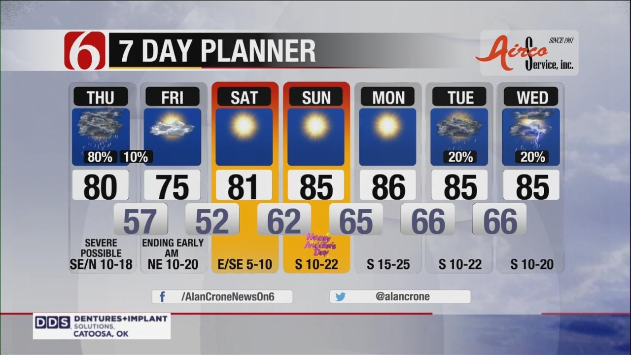Thunderstorms, Some Severe, Possible Across Eastern Oklahoma