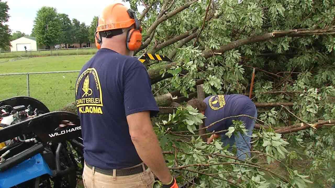 Volunteers Help Owasso Storm Victims Clean Up Damage