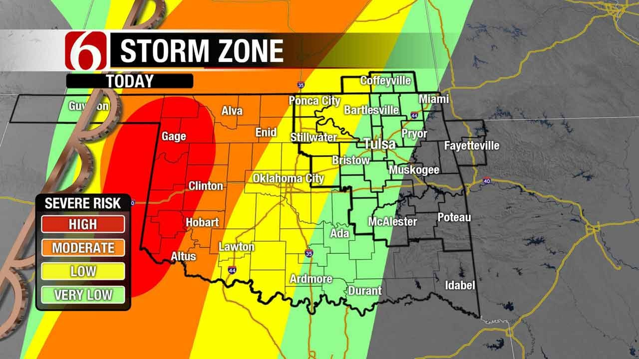 Strong Winds Pushing Storm System Into Eastern Oklahoma