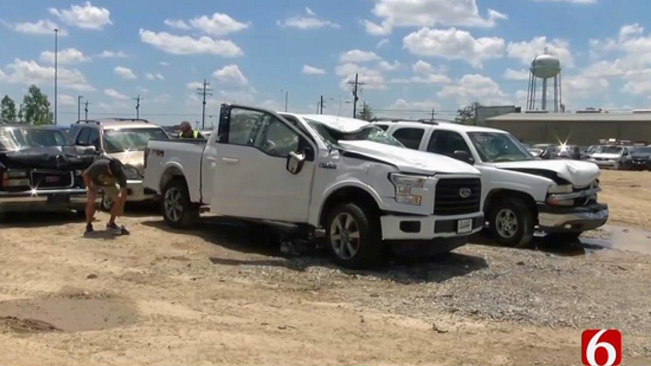 Tornado Tosses Baton Rouge Firefighter, Truck