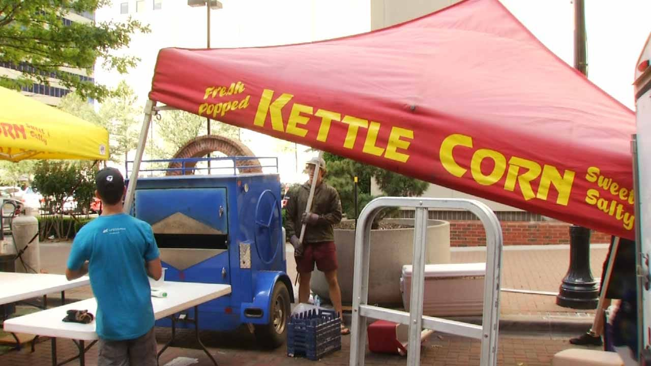 Vendors Setting Up For Tulsa Mayfest, Rain Or Shine