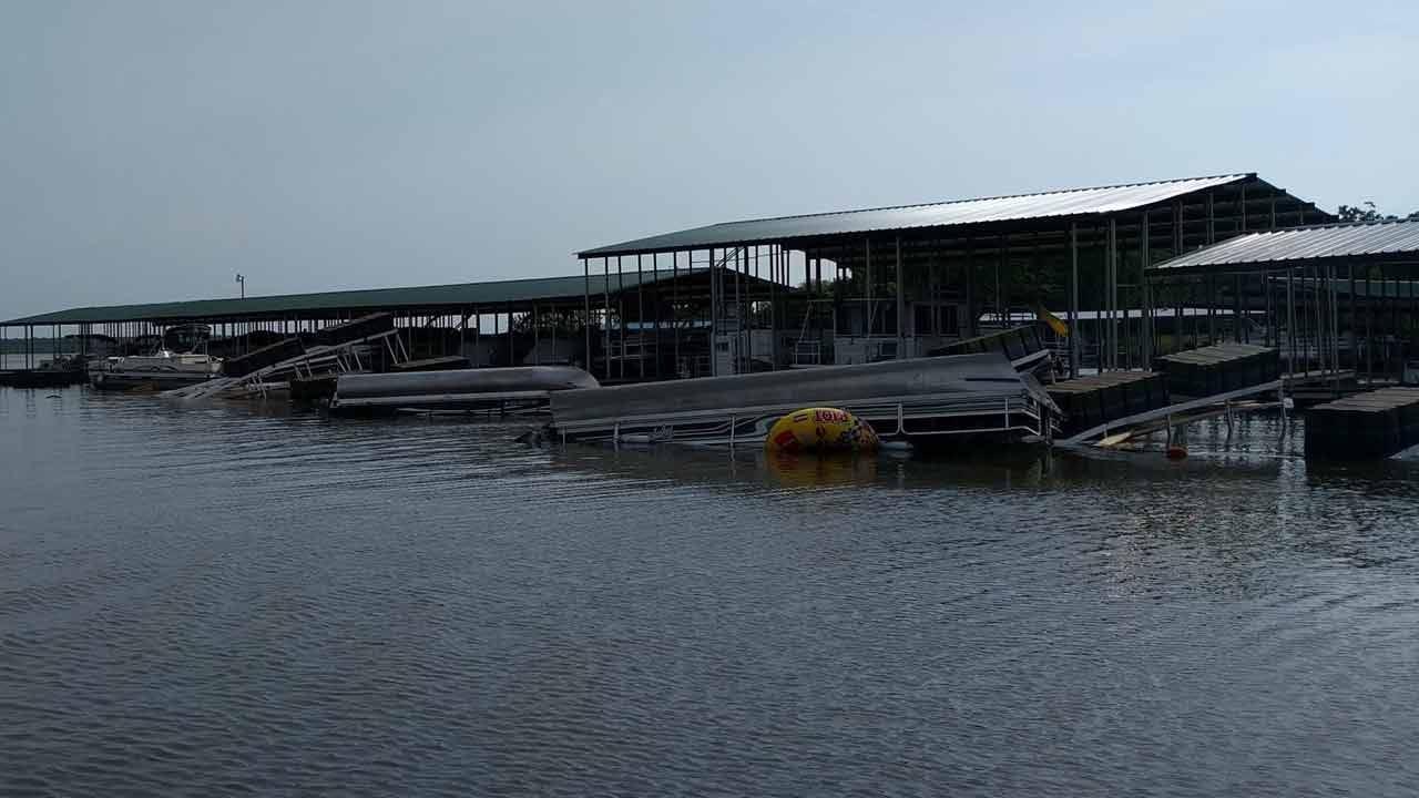 Storms Flip Boats, Slips Upside Down At Fort Gibson Lake Marina