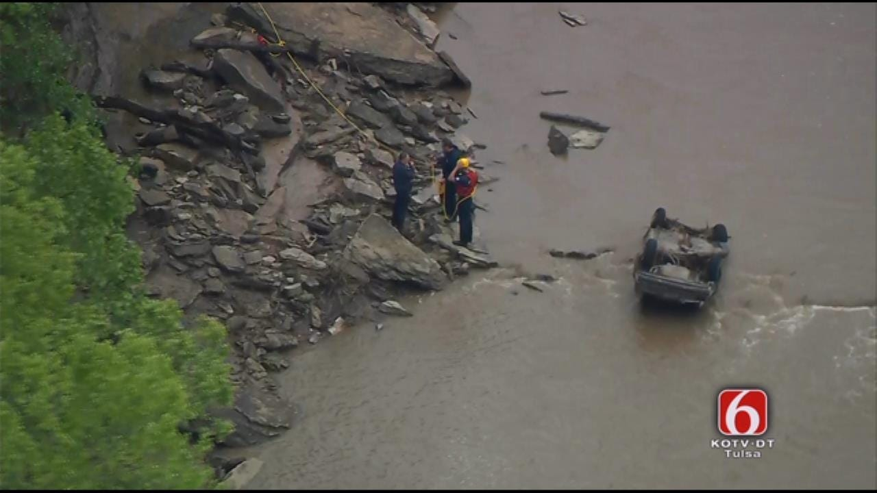 Firefighters Respond To Car In Creek Near Catoosa