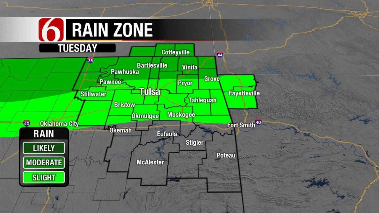 Spotty Showers, Storms For Northern Oklahoma
