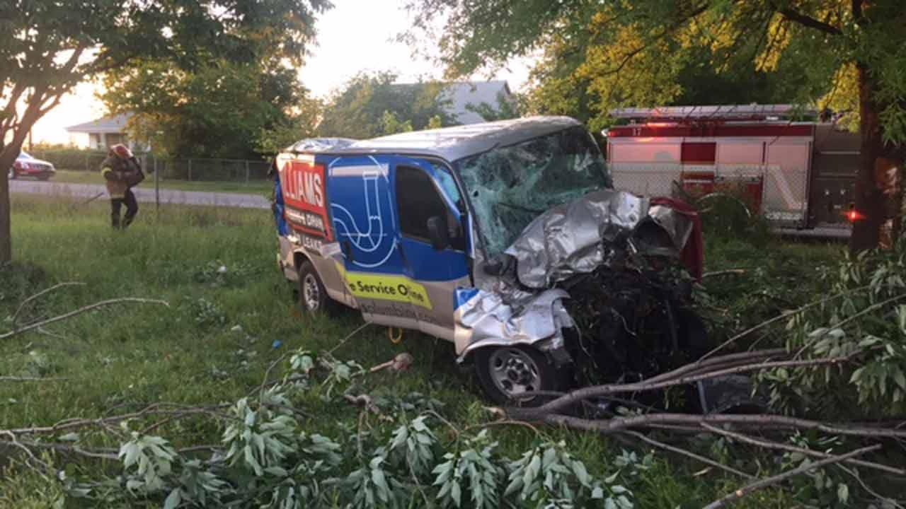 Driver Killed When Van Crashes Through Trees In Tulsa